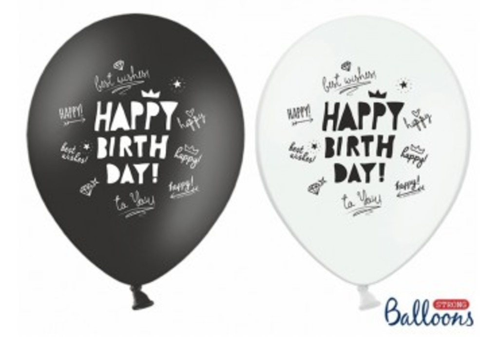 Happy Birthday   Black&White 30cm cena z napelnieniem - 4,50 PLN